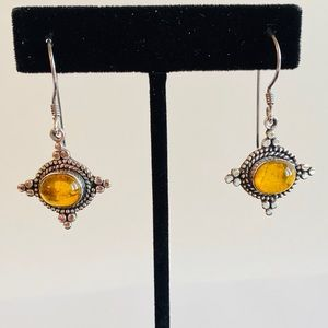 VINTAGE STERLING SILVER  AMBER DANGLE EARRINGS